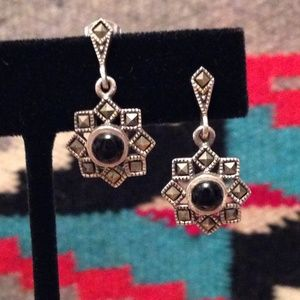 Marcasite and Onyx Drop Earrings